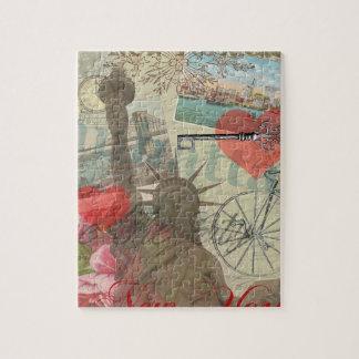 Vintage New York City Collage Artwork Jigsaw Puzzle