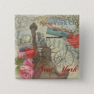 Vintage New York City Collage Artwork Pinback Button