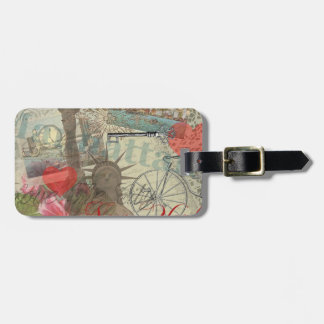 Vintage New York City Collage Tags For Luggage