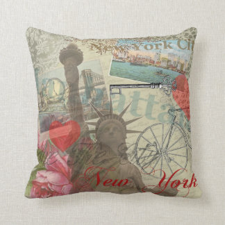 Vintage New York City Collage Pillow