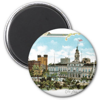 Vintage New York, City Hall and Park 2 Inch Round Magnet
