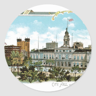 Vintage New York, City Hall and Park Classic Round Sticker