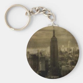 Vintage New York City Llavero Redondo Tipo Pin