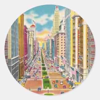 Vintage New York City, los E.E.U.U. - Pegatina Redonda