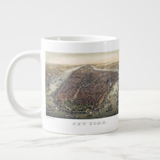 Vintage New York City, Manhattan, Brooklyn Bridge Large Coffee Mug