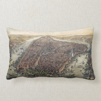 Vintage New York City, Manhattan, Brooklyn Bridge Lumbar Pillow