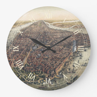 Vintage New York City, Manhattan, Brooklyn Bridge Wallclock