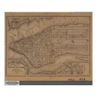 Vintage New York City Map Poster