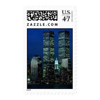 Vintage New York City Night Lights ~ Twin Towers Postage