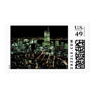 Vintage New York City Night Lights ~ Twin Towers Postage Stamp