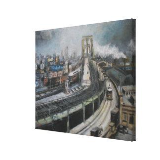 Vintage New York City Painting Brooklyn Bridge Stretched Canvas Prints
