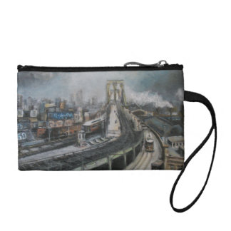 Vintage New York City Painting Brooklyn Bridge Coin Purse