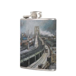 Vintage New York City painting Brooklyn Bridge Flask