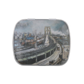 Vintage New York City Painting Brooklyn Bridge Jelly Belly Candy Tin