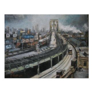 Vintage New York City Painting Brooklyn Bridge Postcard