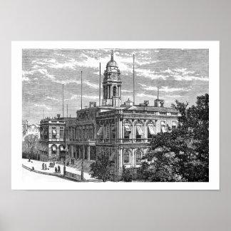 Vintage New York City Pasillo 1872 Poster