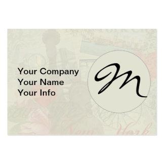 Vintage New York City Pattern Monogram Large Business Cards (Pack Of 100)