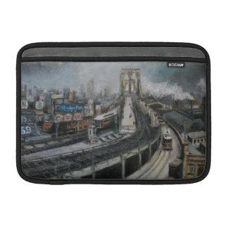 Vintage New York City que pinta el puente de Brook Fundas Para Macbook Air