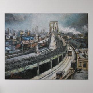 Vintage New York City que pinta el puente de Brook Poster