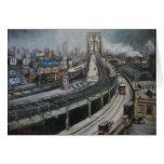 Vintage New York City que pinta el puente de Tarjeta De Felicitación