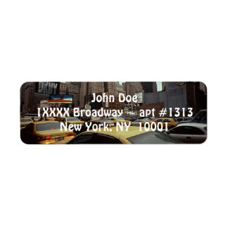 Vintage New York City Streets Cabs Address Label