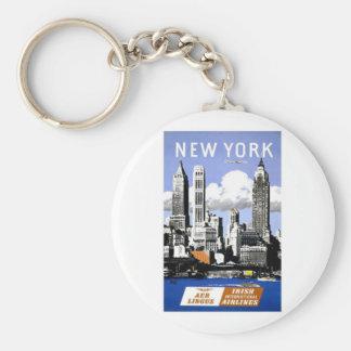 Vintage New York City Travel Basic Round Button Keychain