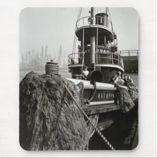 Vintage New York City Waterfront Tugboat Mouse Pad