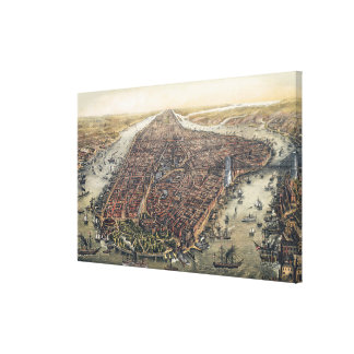 Vintage New York City with Brooklyn Bridge Gallery Wrapped Canvas