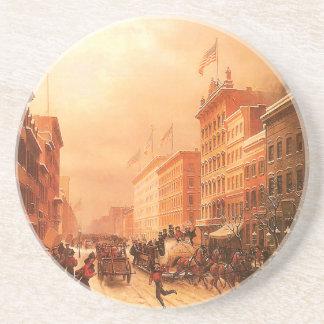 Vintage New York Firemen Drink Coaster