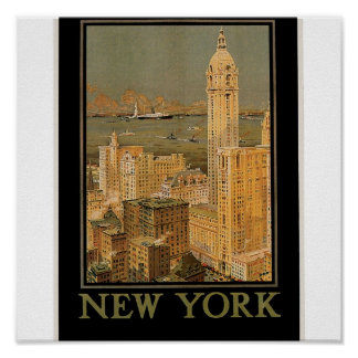 Vintage New York from Glasgow by the Anchor Line Poster