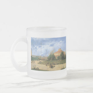 Vintage New York Harbor & Batter, 1885 Frosted Glass Coffee Mug