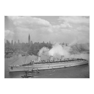 Vintage New York Harbour and Queen Mary Photograph Poster
