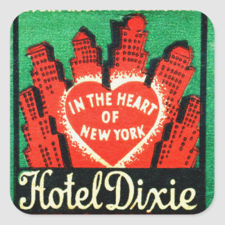 Vintage New York Hotel Dixie Matchbook Art Cover Square Sticker