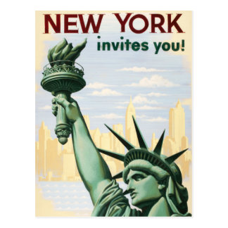 Vintage New York Invites You Travel Advertisement Postcard