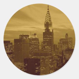 Vintage New York Manhattan Classic Round Sticker