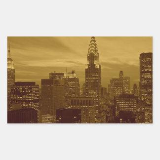 Vintage New York Manhattan Rectangular Sticker