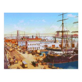 Vintage New York River front Postcard