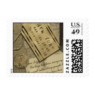 "Vintage ""New York"" Scrapbook Postage Stamp"