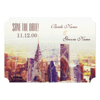 Vintage New York skyline Personalized Announcements