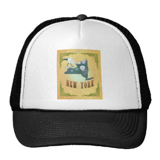 Vintage New York State Map- Passion Fruit Yellow Trucker Hat