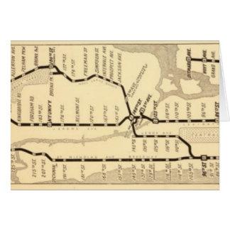 Vintage New York Subway Map Greeting Card
