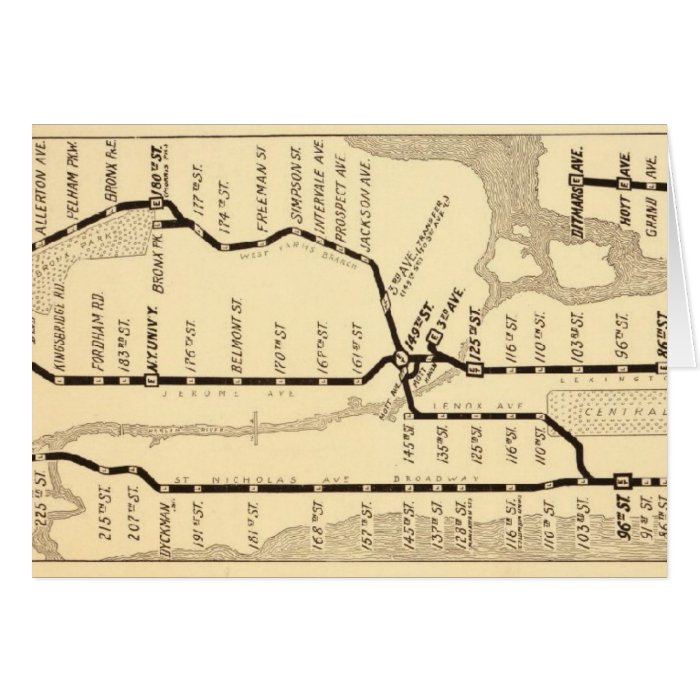 Vintage New York Subway Map Card