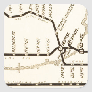 Vintage New York Subway Map Square Sticker