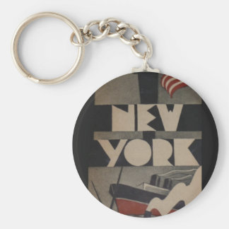 Vintage New York Travel Basic Round Button Keychain