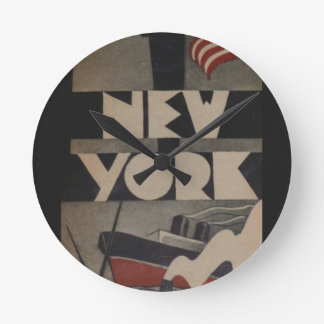 Vintage New York Travel Round Clock