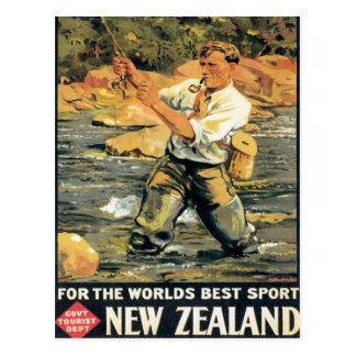 Vintage New Zealand Fishing Postcard