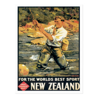 Vintage New Zealand Fishing Postcard