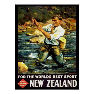 Vintage New Zealand Sports Fishing Travel Poster