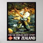 Vintage New Zealand Sports Fishing Travel Print