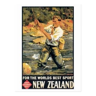 Vintage New Zealand Travel Poster Postcard